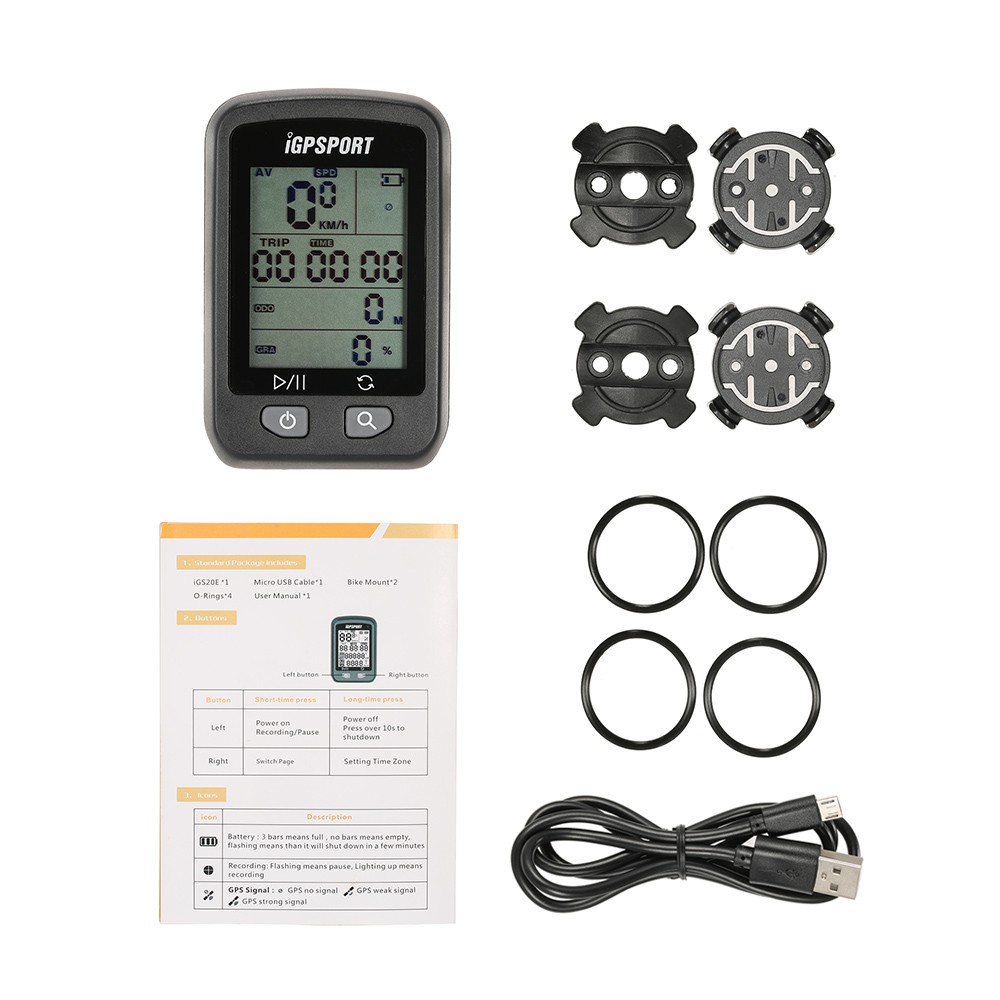 iGPSPORT iGS20E Rechargeable Bicycle GPS Computer Odometer IPX6 Auto Backlight