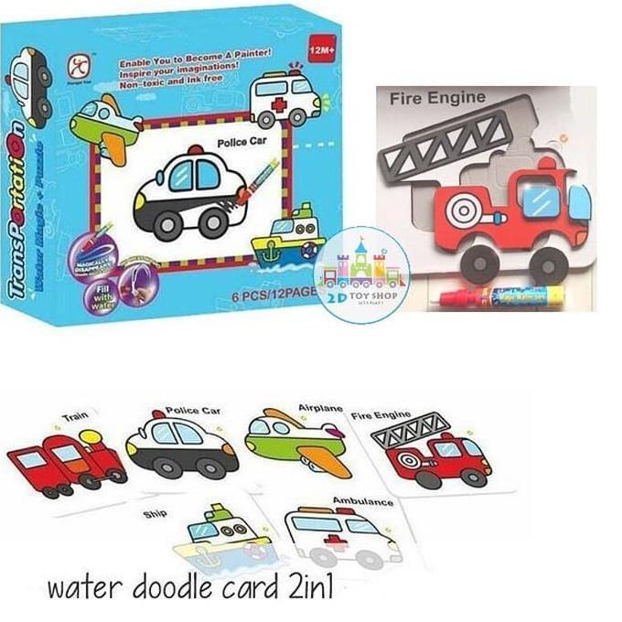 Tx0477 Mainan Edukasi Water Doodle Puzzle Card Coloring Mewarnai Shopee Indonesia