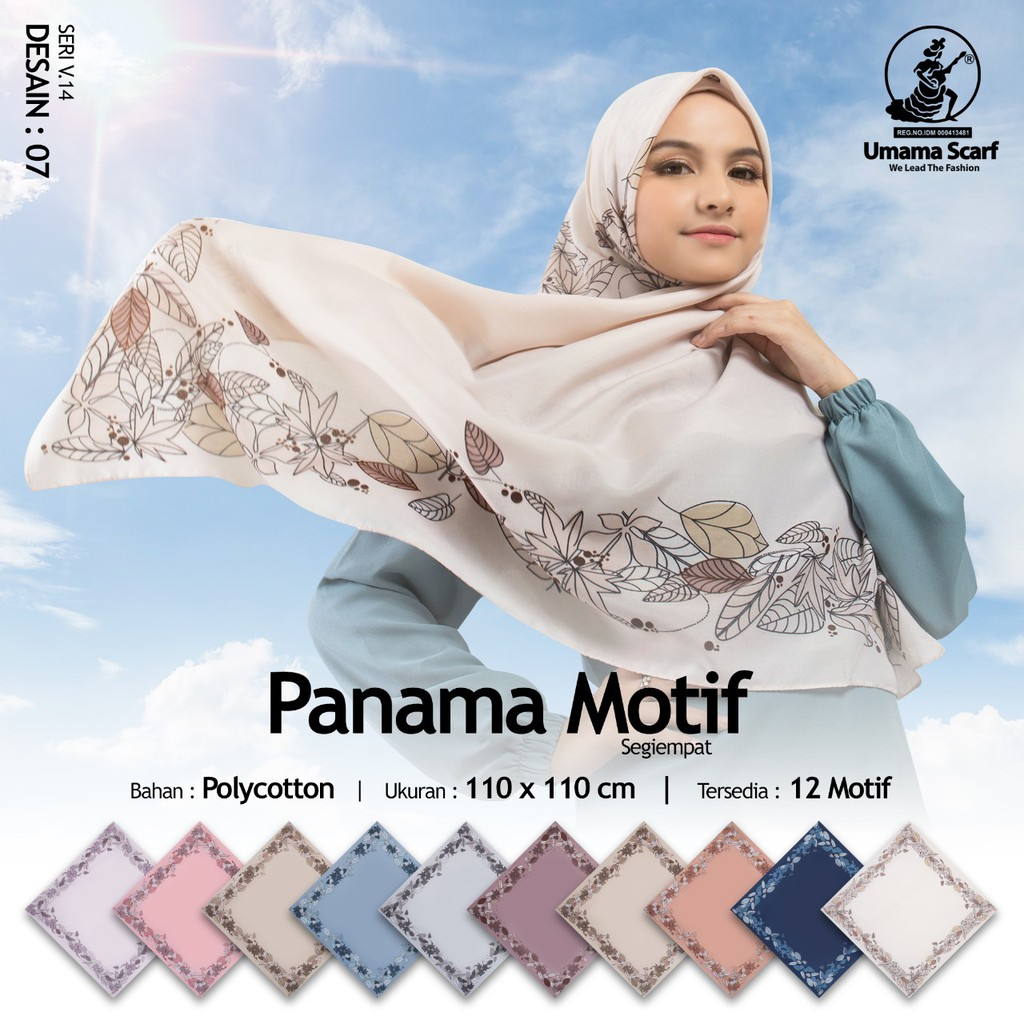 [SERIAN WARNA] Jual jilbab segiempat motif PANAMA by Umama Scarf 9.9  supplier jilbab online murah