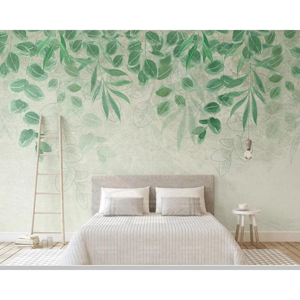 Wallpaper Desain Daun 3d Warna Hijau Untuk Ruang Tamu Kamar Tidur Shopee Indonesia