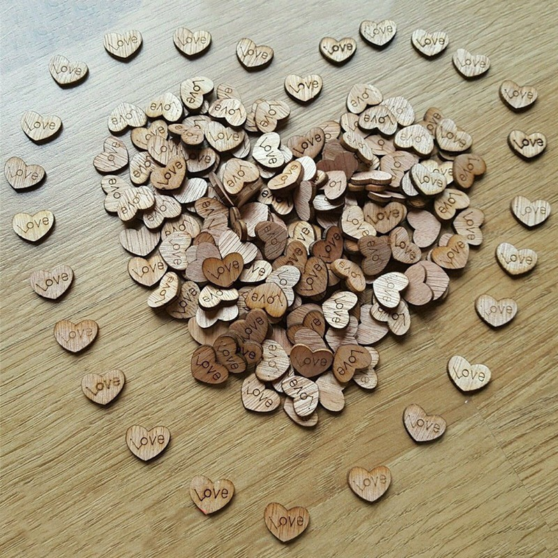 50pcs 3cm Wood Wooden Love Heart Wedding Table Scatter Decoration Crafts DIY