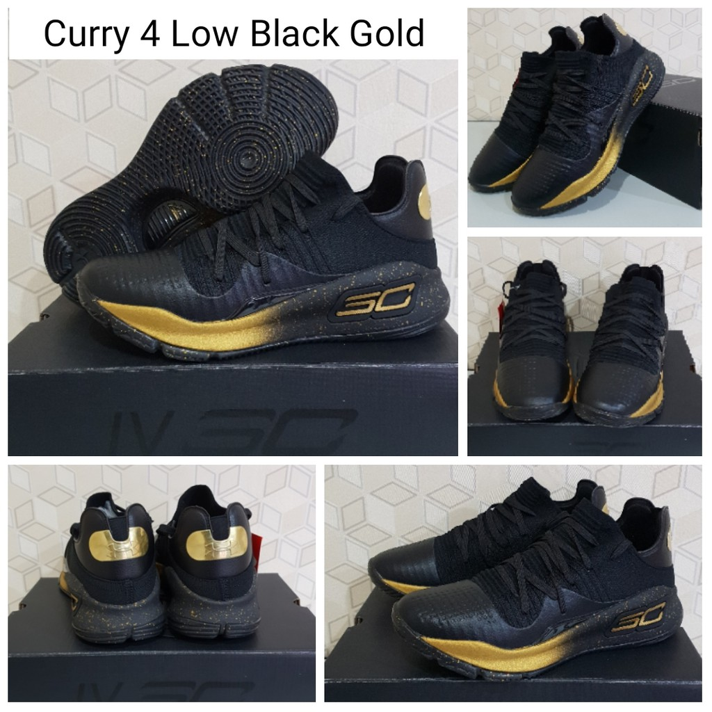 c8b76f9db63 Sepatu Basket Curry 4 Low Black Gold