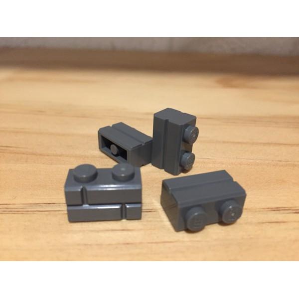 Lego 4 Medium Dark Flesh 1x2 brick with brick masonry profile