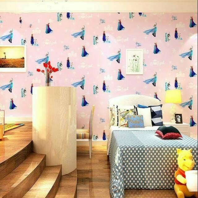 Wallpaper Dinding Murah Ruang Tamu Kamar Tidur Anak Frozen Cantik Unik Lucu Menarik Terbagus