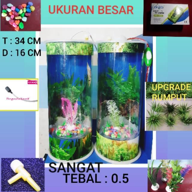 Aquarium Mini Ukuran Besar Ikan Hias Guppy Cupang Lampu Tidur Mesin Aerator Bisa Cod Shopee Indonesia