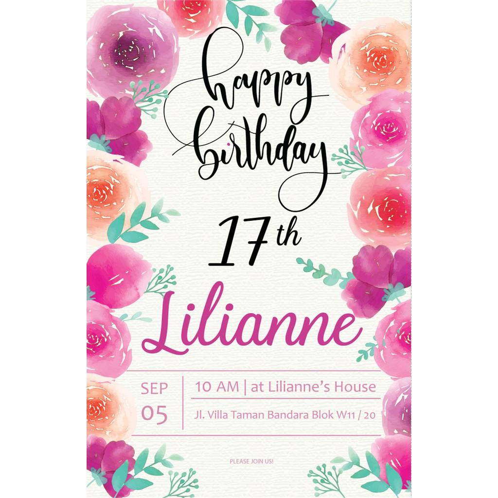 undangan digital ulang tahun sweet seventeen flower 2 shopee indonesia undangan digital ulang tahun sweet seventeen flower 2