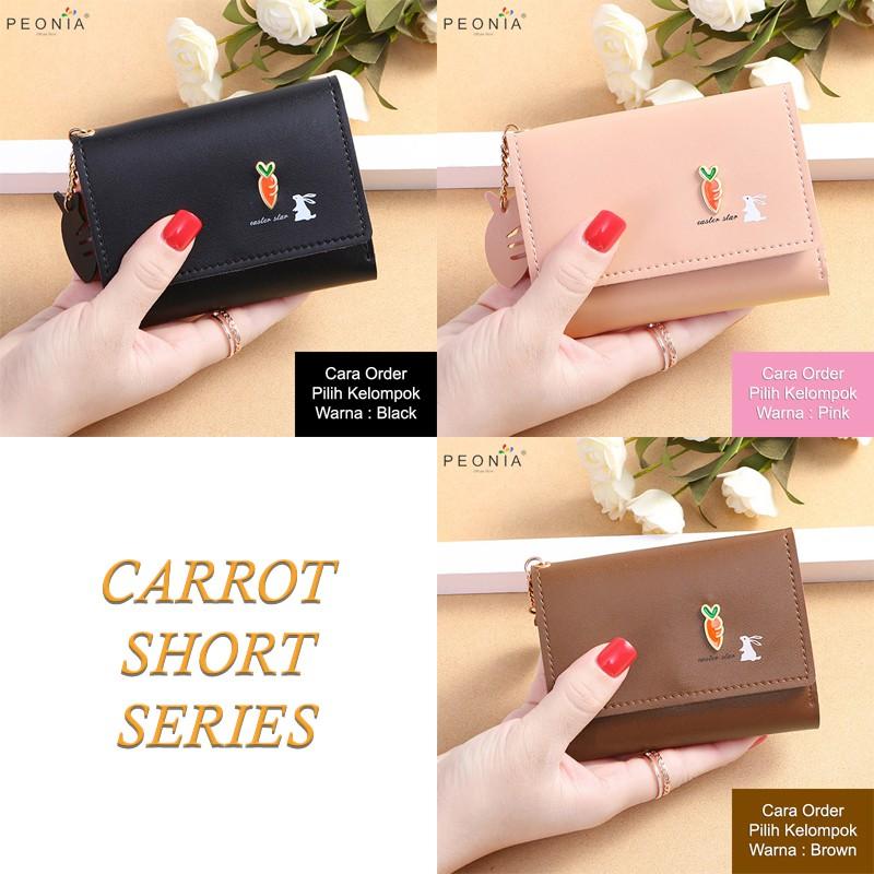 Peonia - Dompet Wanita Kecil Lipat Import - Wallet - Korea Fashion Style - Carrot Short