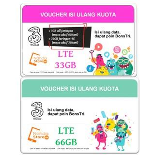 VOUCHER TRI KUOTA LTE 33GB 66GB PAKET DATA THREE 33 GB 66 GB
