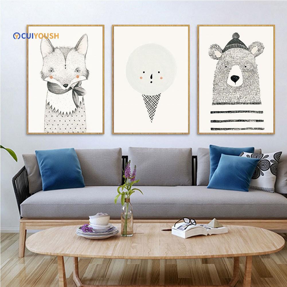 Lukisan Kanvas Gambar Beruang Imut Untuk Dekorasi Rumah