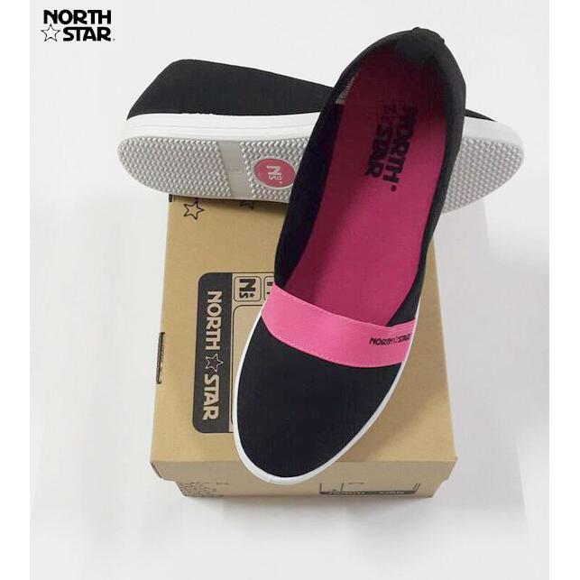 North Star 6104 - Sepatu Flat Wanita Canvas Casual Hitam   Pink ... ba14dc0cd5