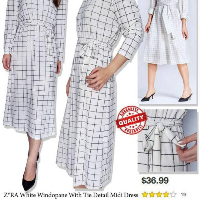 227780e0 ZARA window pane with tie maxy dress - white | Shopee Indonesia