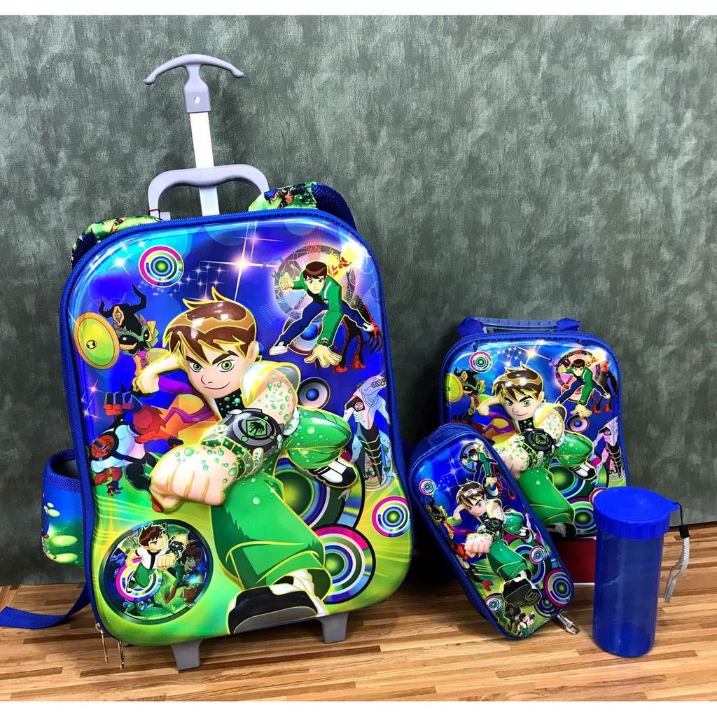 Tas Sekolah Anak Trolley Troli Import Trolly 3d 4in1 Set 3 Roda 6d 4 In 1 0280 Motif Karakter Big Hero Timbul Shopee Indonesia