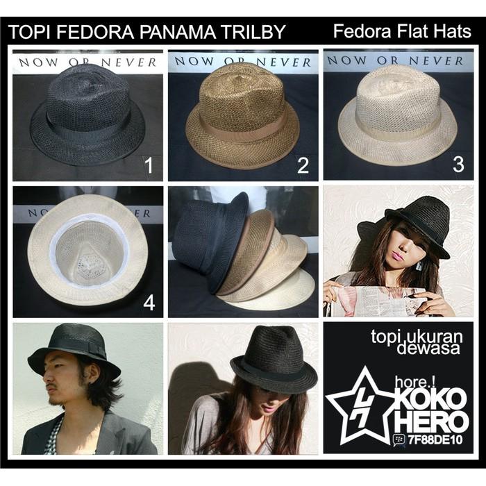 Topi Fedora Panama Trilby Style Summer Sun Straw Hat Crushable Cap Oke | Shopee Indonesia