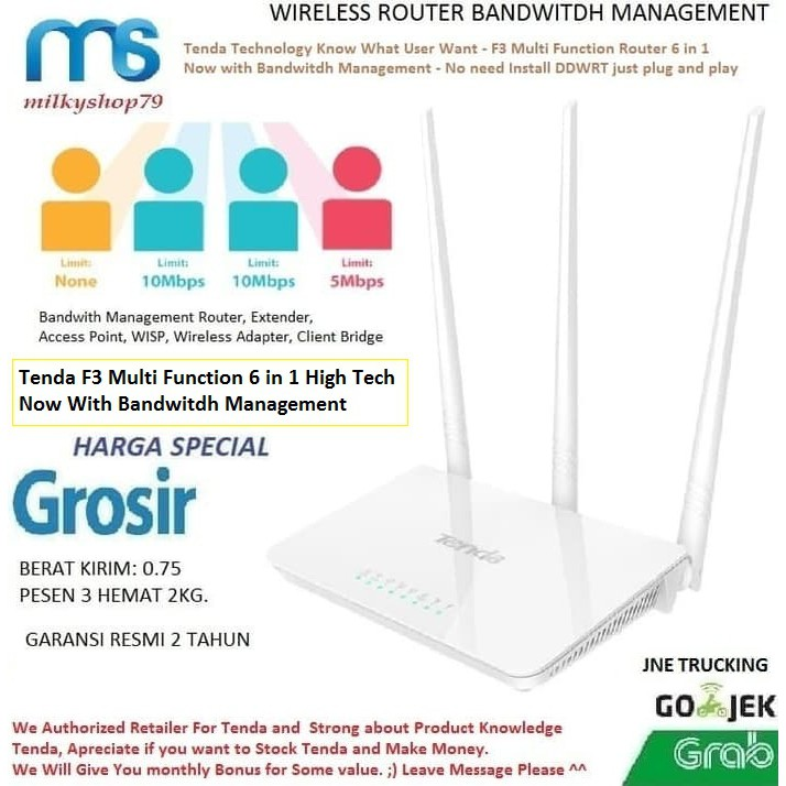 Tenda F3 6 in 1 Wireless Router+Extender+Access Point Wifi Repeater New  FH303 Bandwitdh Management