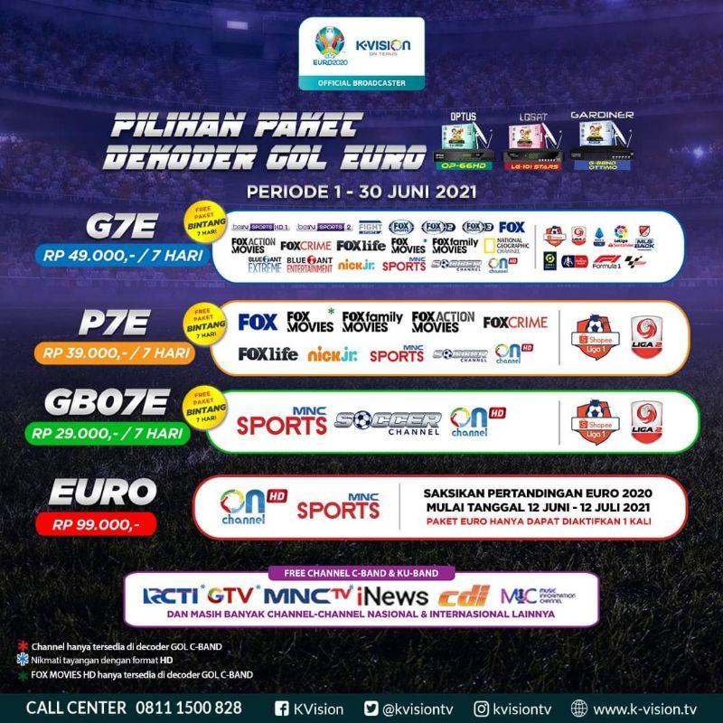 Voucher Paket K-Vision GOL ( G-Ottimo, Optus, LGSat Star ) + EURO 2020 + COPA AMERICA