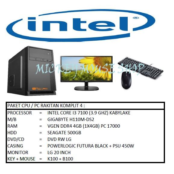 PC PAKET CPU / PC RAKITAN KOMPLIT 4 / INTEL I3 7100 (3.9 GHZ) / RAM 4GB