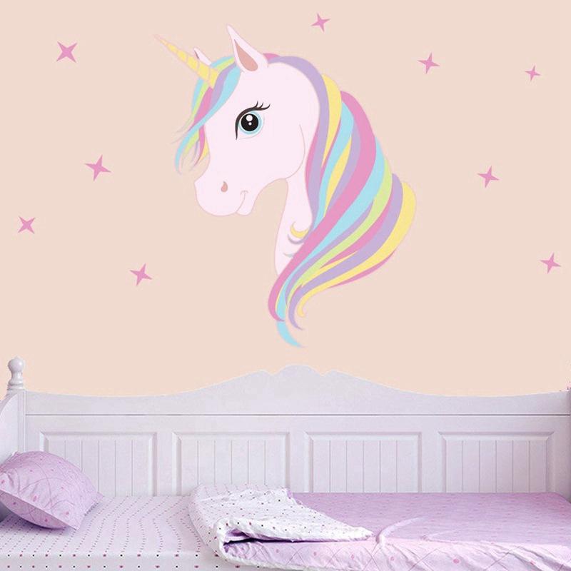 Unicorn Wall Sticker Anak Gadis Kamar Diy Poster Wallpaper Dekorasi Pesta Rumah Shopee Indonesia