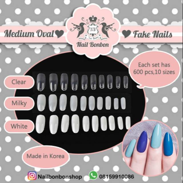 Kuku Palsu Kupal Polos Kosong Medium Made In Korea Medium Oval Fake Nails Shopee Indonesia