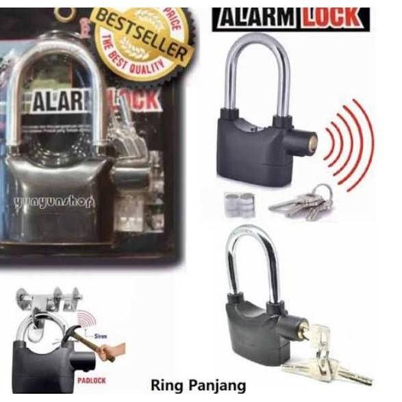 Zgm Gembok Alarm Anti Maling Pagar Lock Ring Panjang Pendek