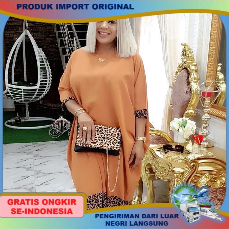 dress style Wanita Afrika Gaun Plus Ukuran Leopard Jubah Afrika kekinian Pakaian wanita jumbo polos halus big dress chubby girl