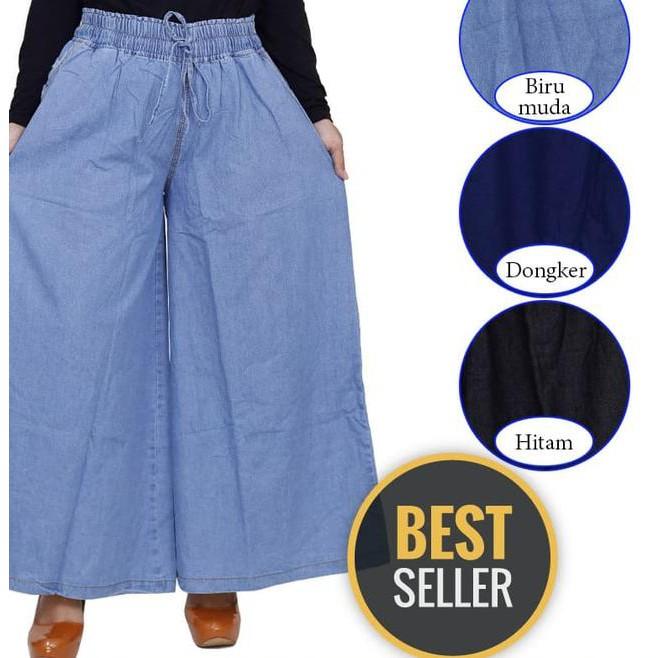 Termurah# Celana Kulot Panjang Jumbo Jeans Polos Celana Jeans Jumbo Wanita Paling .