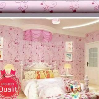 wallpaper dinding murah ruang tamu kamar tidur love pink