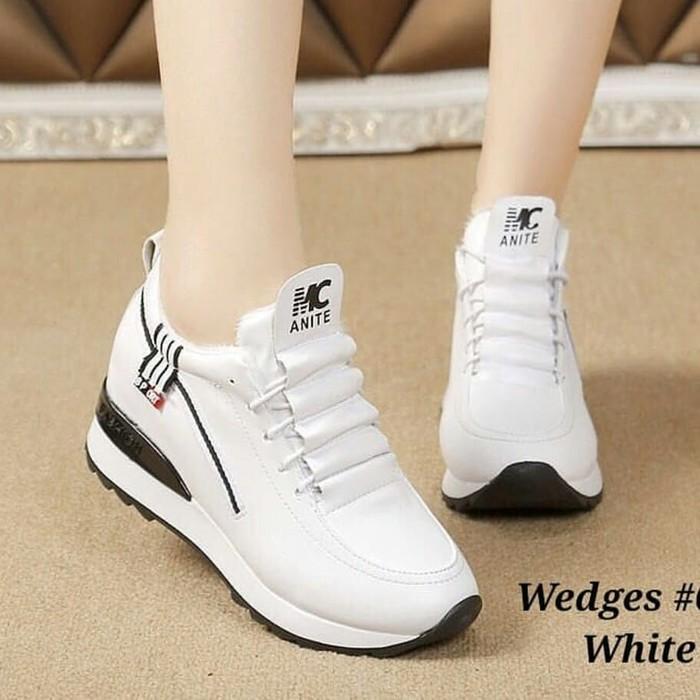 Sepatu Wanita Wedges Sneakers Casual Mg Putih Murah Kets Sneaker