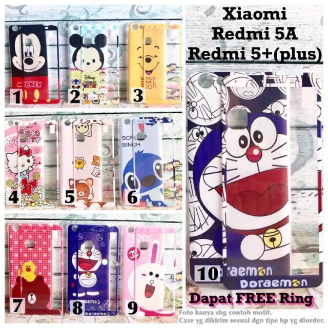 Softcase case 360 motif ring Xiaomi Redmi 5A redmi 5 plus doraemon mickey tsumtsum hellokitty | Shopee Indonesia