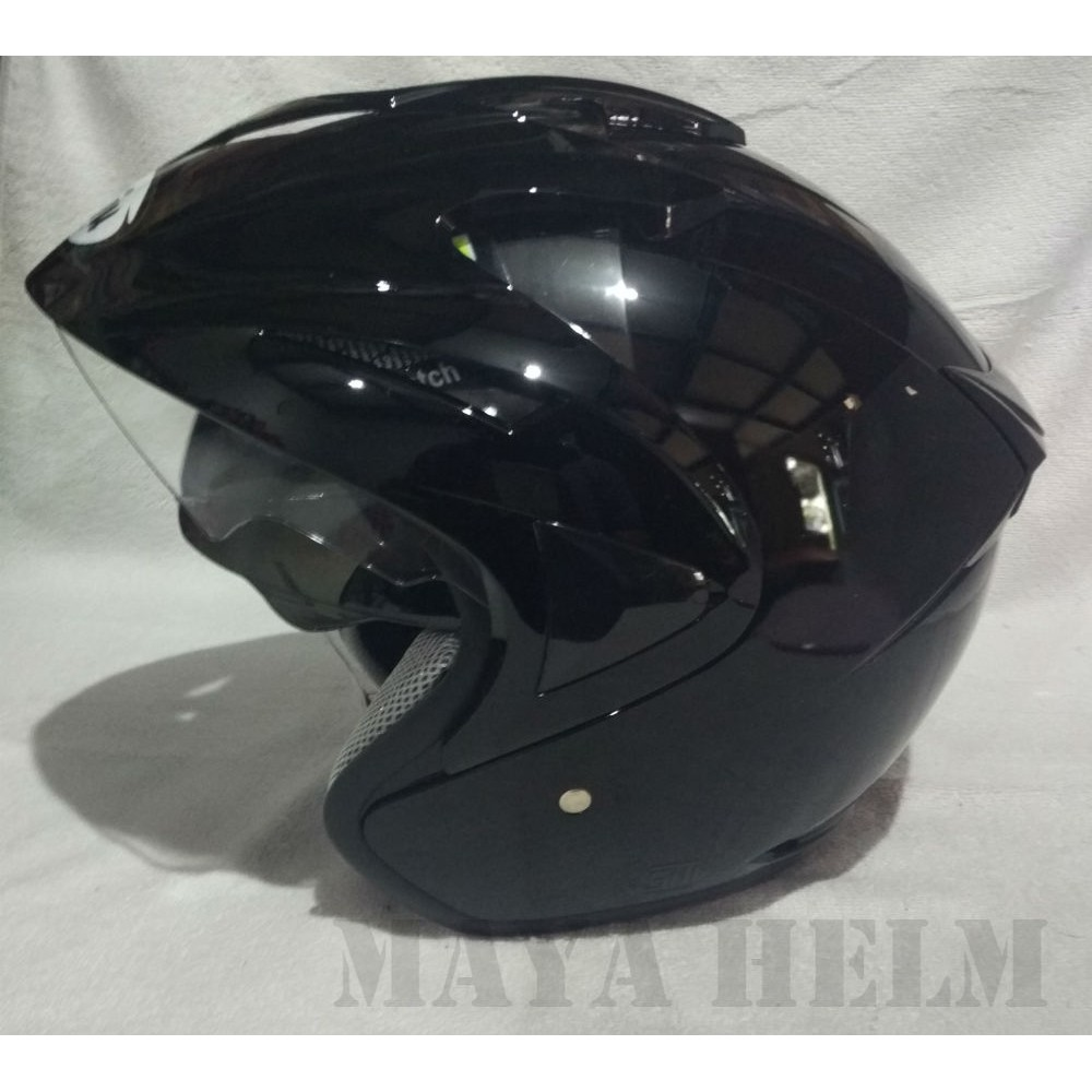Helm Ink Enzo Polos Solid Black Gloss Shopee Indonesia Wto Helmet Pro Sight Hitam