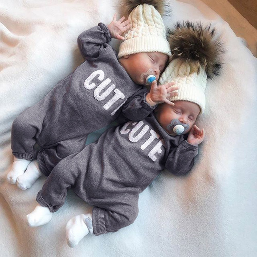 Newborn Infant Baby Boy Girl Long Sleeve Letter Romper Jumpsuit Clothes Outfits