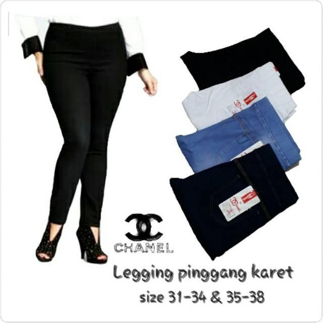 Sz 31 34 35 38 Jumbo Size Celana Legging Jegging Pinggang Karet Chanel Prada Shopee Indonesia
