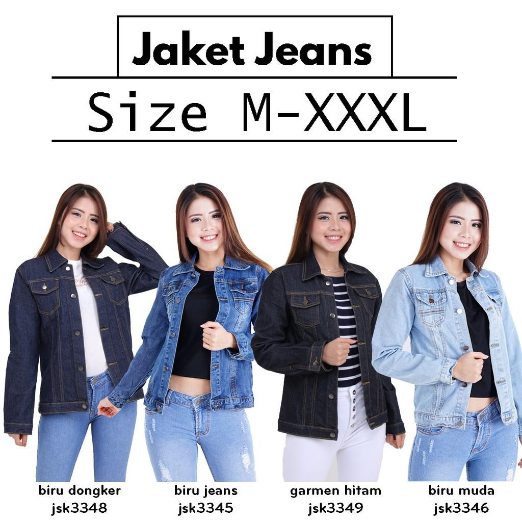 [4 WARNA] [Size M-XXXL] Atasan Jaket Jeans Wanita Big Size