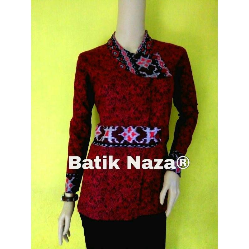 BARU !!! Bluse Batik Sekar Mega Mendung Merah  635489cf35