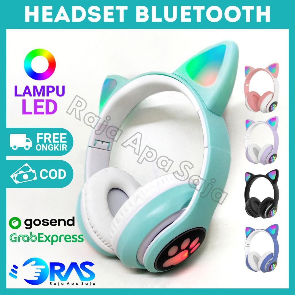 HEADSET GAMING BLUETOOTH Karakter Kucing RGB - Heandset Henset Headphone Wireless Blutut Anak Cewek
