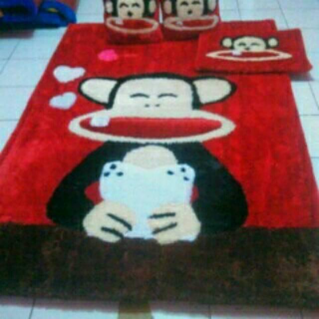 Karpet set bulu rasfur Surpet Kasur Karpet karakter monyet Monkey | Shopee Indonesia