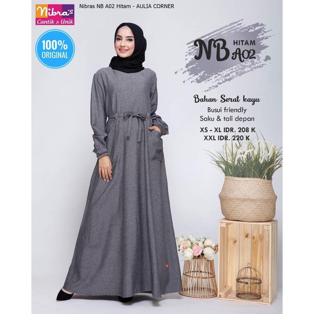 Gamis Wanita Jakarta Gamis Nibras NB A10 Hitam ORIGINAL Model Casual