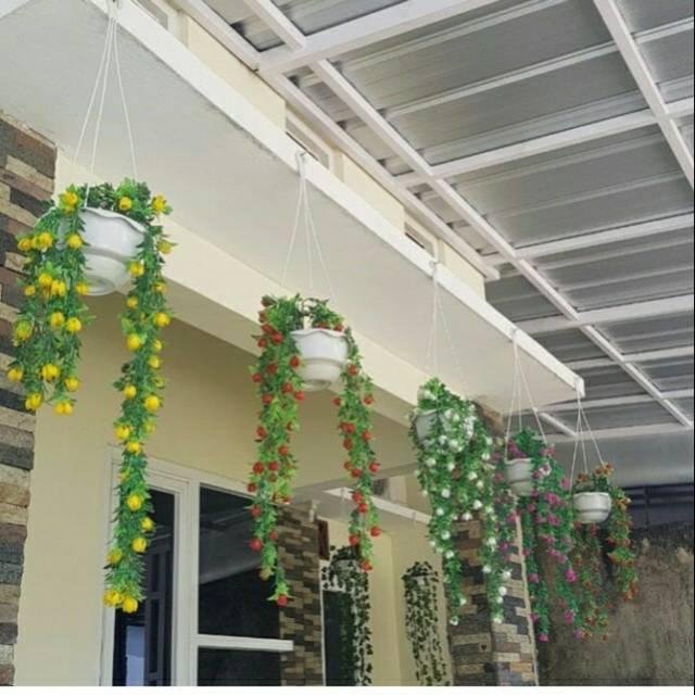 Bunga Gantung Pot Gantung Bunga Shabby Bunga Juntai Bunga Plastik Pot Shabby Shopee Indonesia
