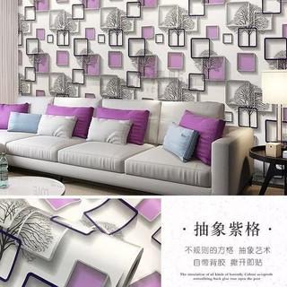 wallpaper stiker dinding putih 3d pohon kotak pink sticker