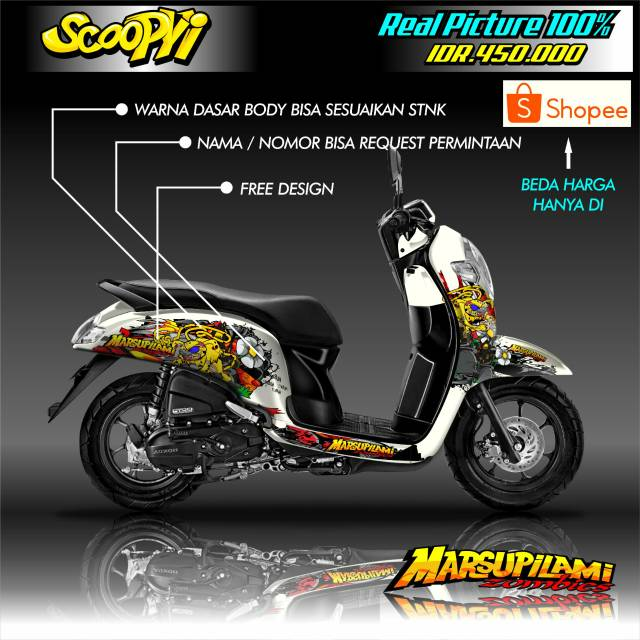Decal Fullbody Terbaru Motor Honda Scoopy Design Bebas Shopee Indonesia