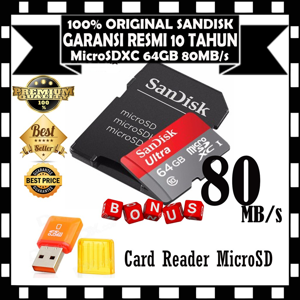 Sandisk Ultra Micro Sdxc 80mb S Class 10 64gb Shopee Indonesia Sd 128gb Sandisc Hc 100mbps Garansi Resmi