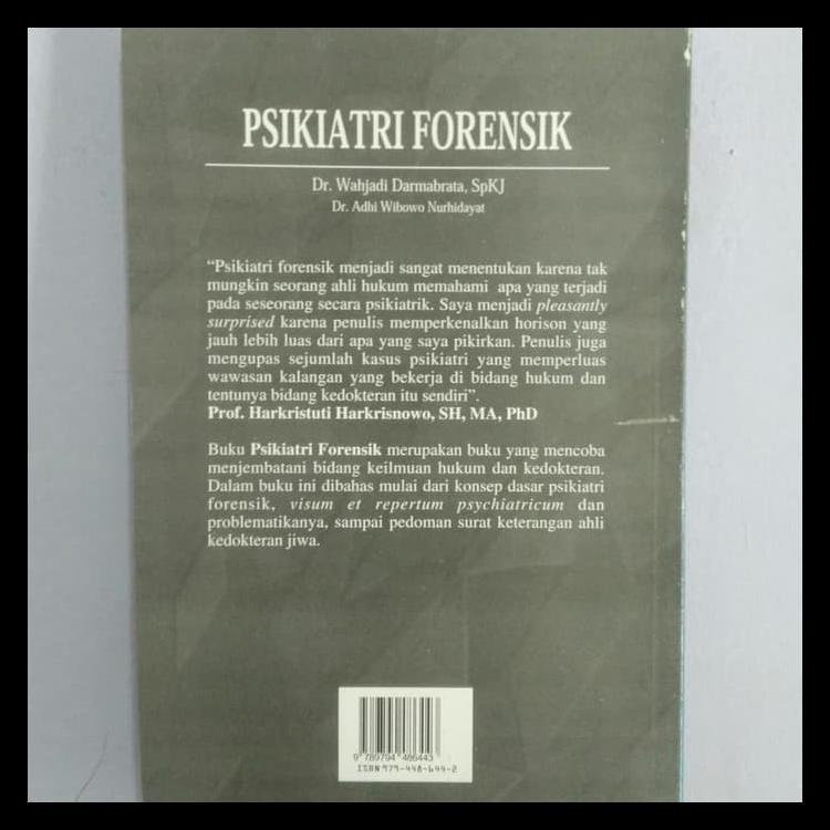 Buku Kedokteran Psikiatri Forensik Dr Wahjadi Darmabrata Spkj