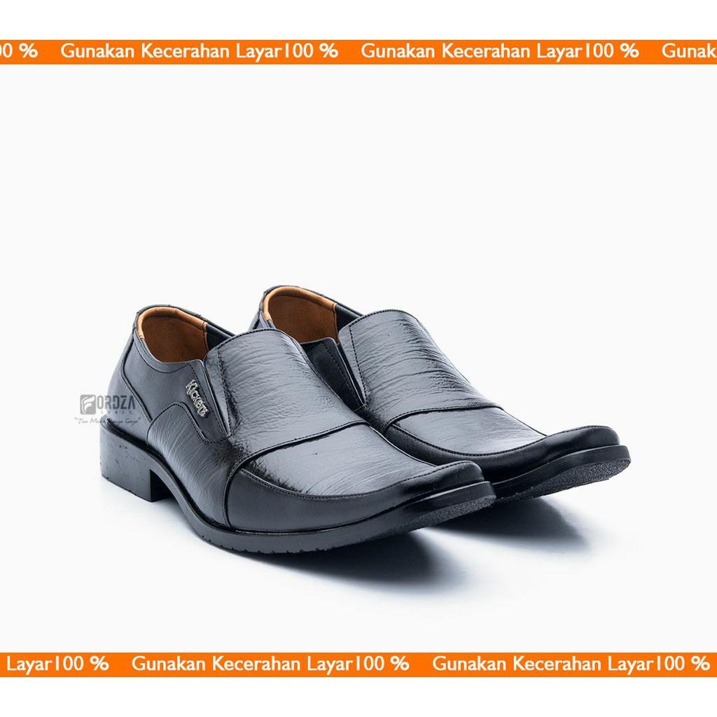 Sepatu Pantofel Pria Formal Model Slip On Kulit Asli Warna Hitam