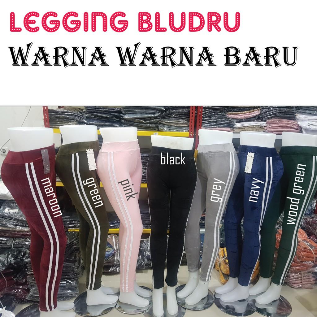 Legging Bludru Jumbo Import Legging Strip Velvet Suede Fashion Leging Bludru Murah Shopee Indonesia