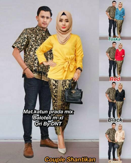 Model Baju Batik Couple Seragam Pria Wanita Terbaru 2018