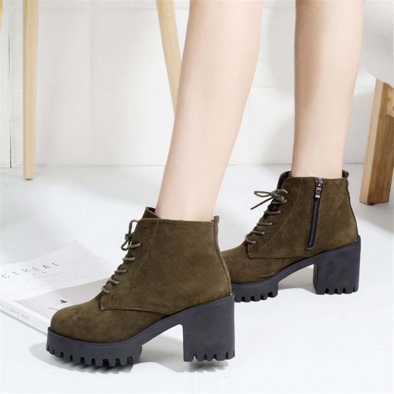 Winter Warm Women Knee High Stretch Booties Block Mid Heel Punk Boots Shoes