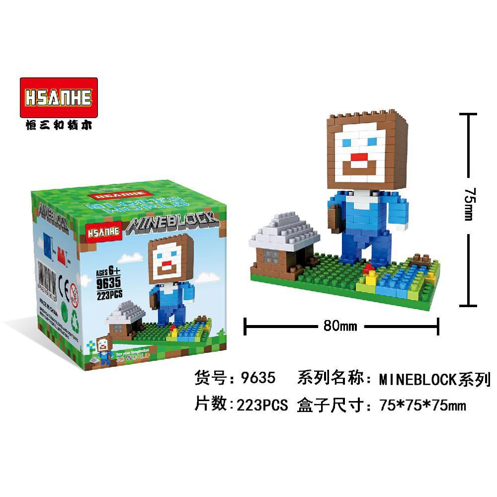 Nano Block Bricks Hsanhe 9635 Minecraft Steve House Shopee Indonesia