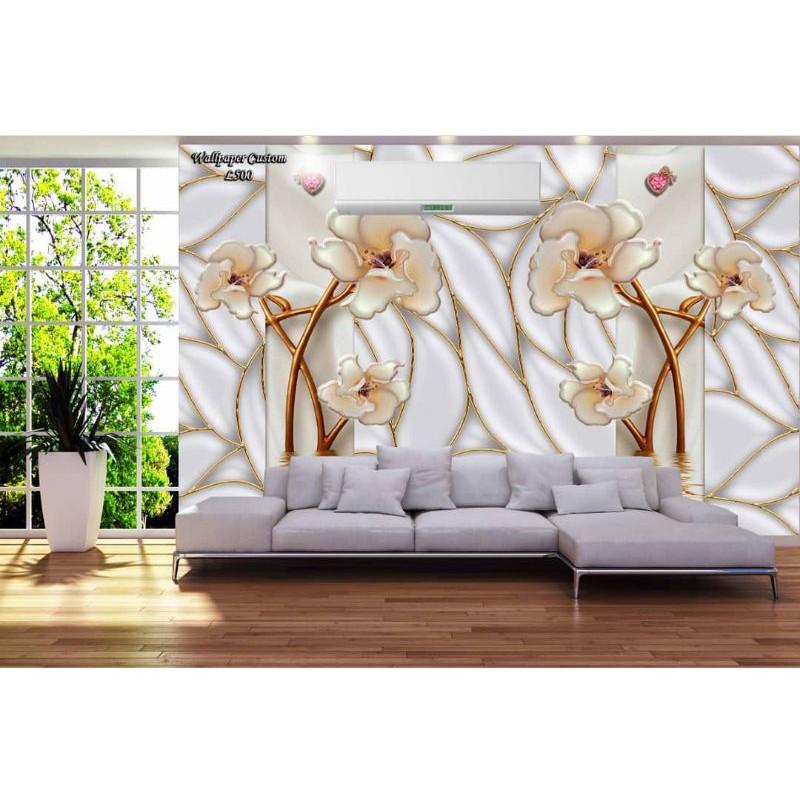 Wallpaper 3d Wallpaper Dinding Wallpaper Plafon Bunga Putih Emas Di Ruang Tamu Mewah Shopee Indonesia