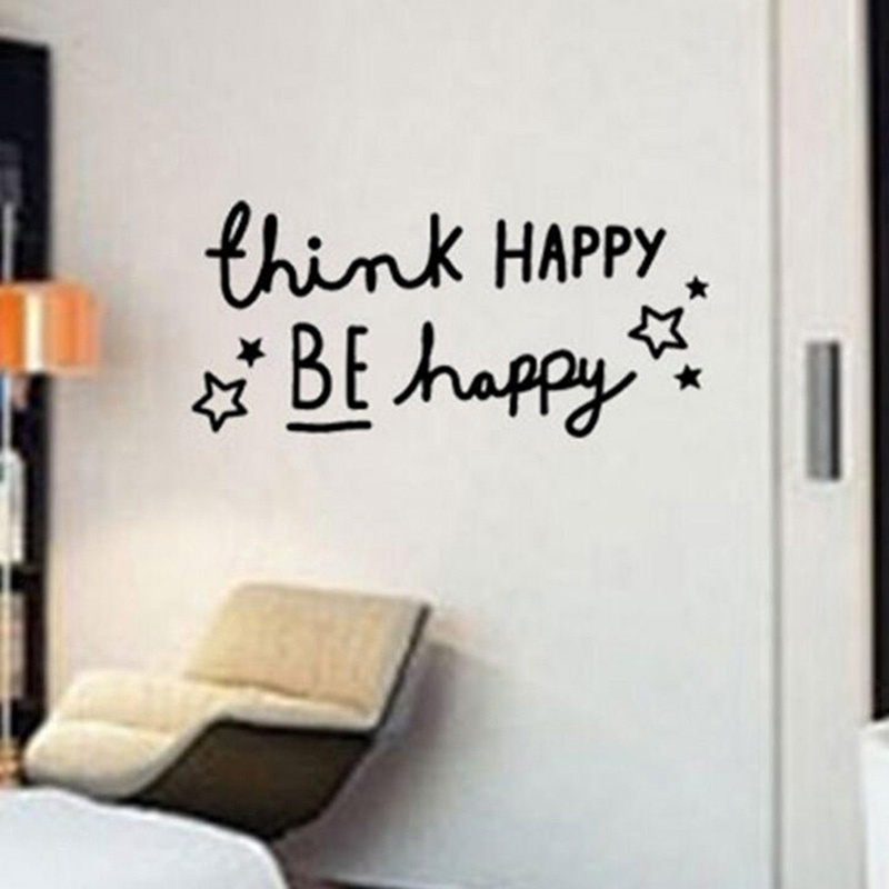 Fashion Creativity Think Happy Be Happy Removable Art Mural Home Room Decor Wall Stickers Drop Shipping Shopee Indonesia