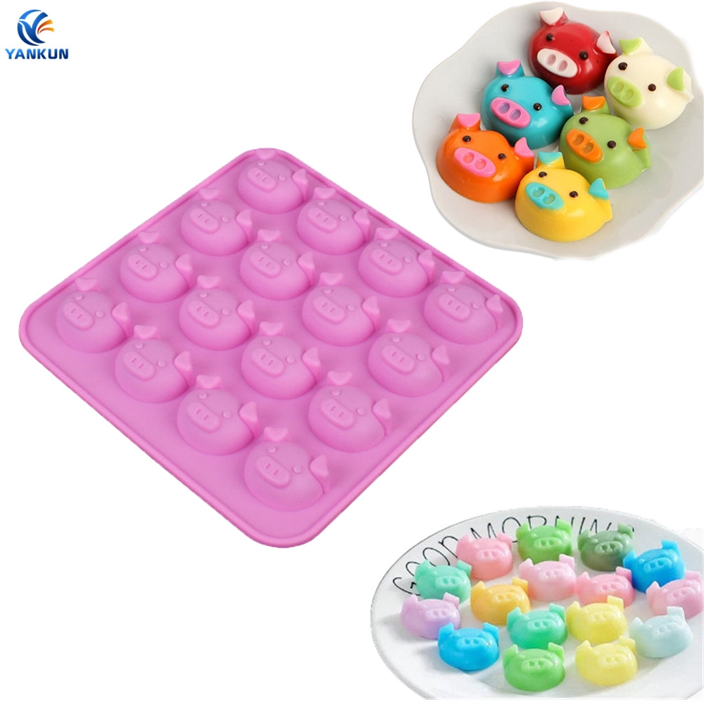 16 Holes Pig Shape Chocolate Mold Lovely Cake Decoration Silicone Jelly Candy Ic