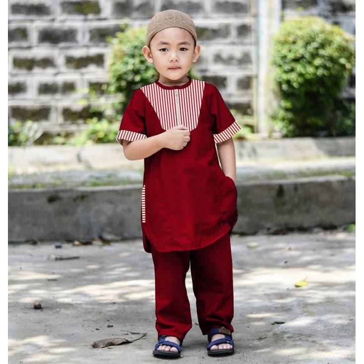 Termurah Dannis Baju Muslim Anak Laki Laki Taqwa Anak Sari Uz940 Halilintar Kid Maroon 0130 S Shopee Indonesia